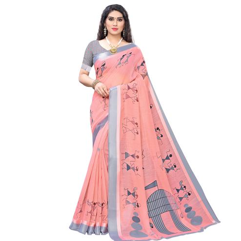 Flattering Peach Colored Casual Wear Printed Linen Saree