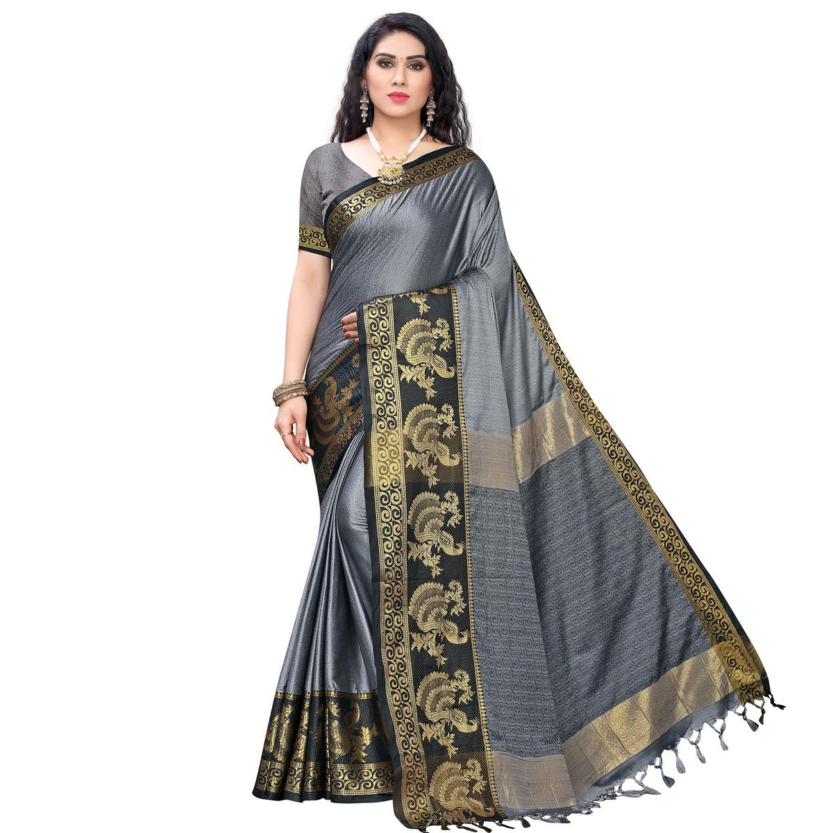Alluring Grey Colored Festive Wear Woven Banarasi Silk Saree With Tassels