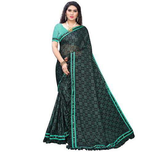 Adorning Grey-Green Colored Party Wear Printed Lycra Saree