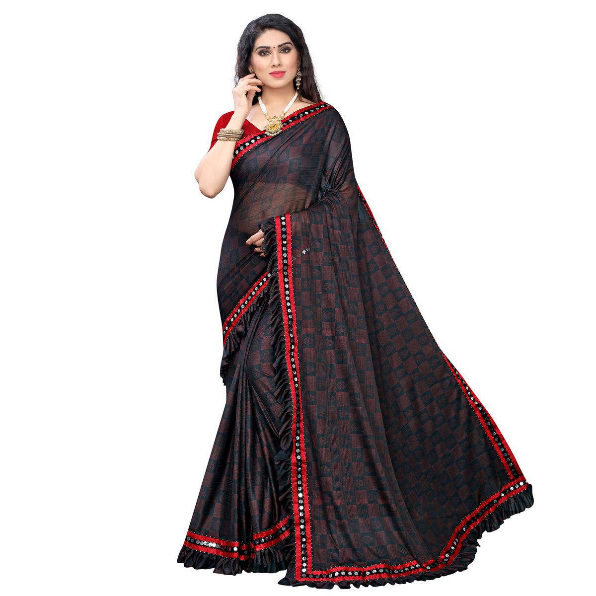 Blooming Red Colored Party Wear Printed Lycra Saree