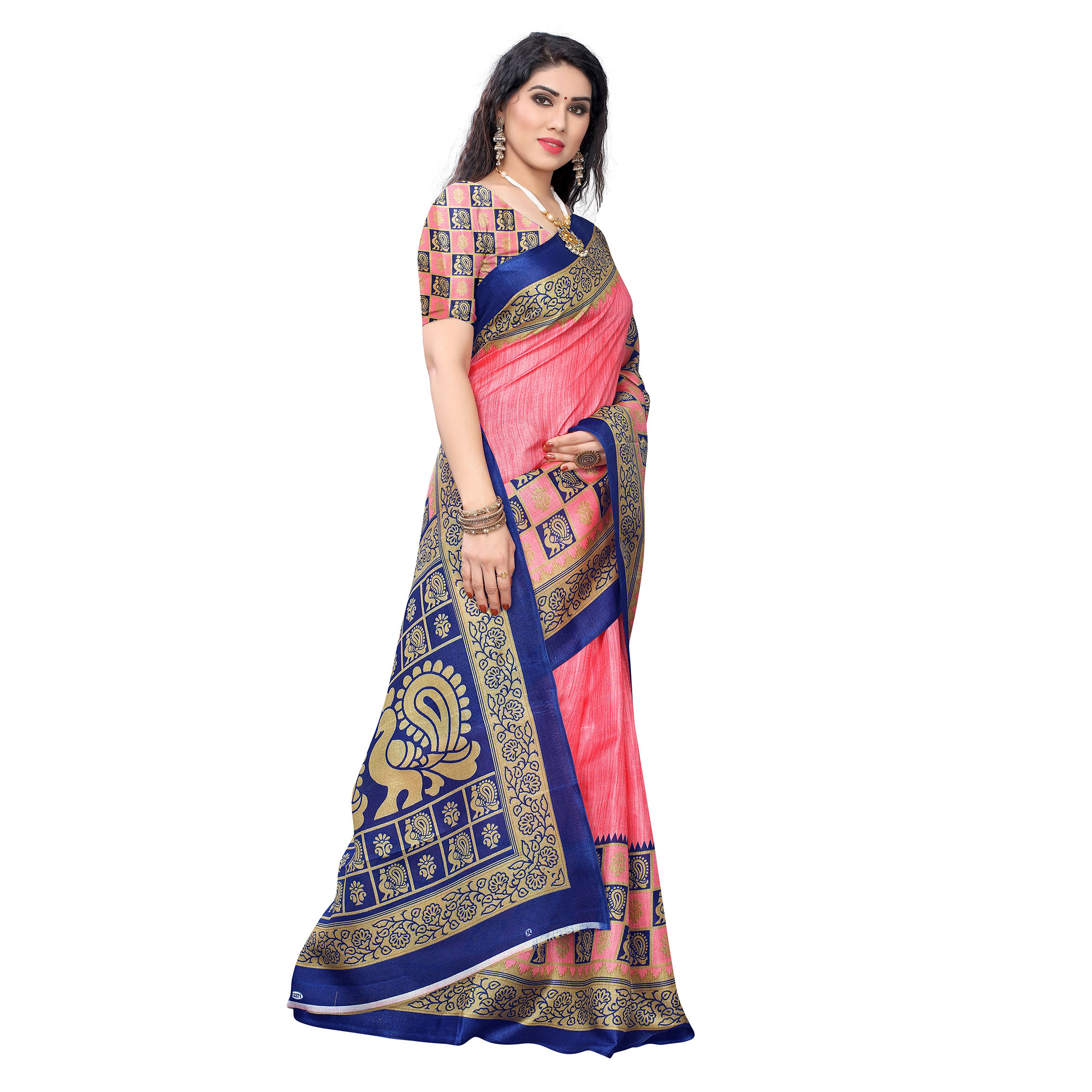 Jazzy Pink Colored Casual Wear Printed Art Silk Saree