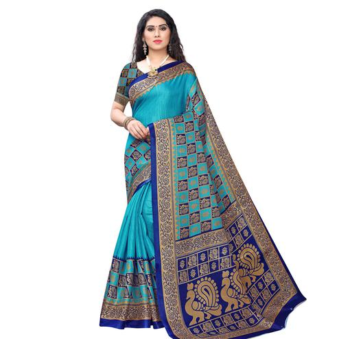 Delightful Blue Colored Casual Wear Printed Art Silk Saree