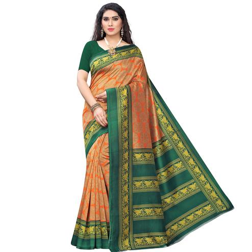 Captivating Orange Colored Casual Wear Printed Art Silk Saree