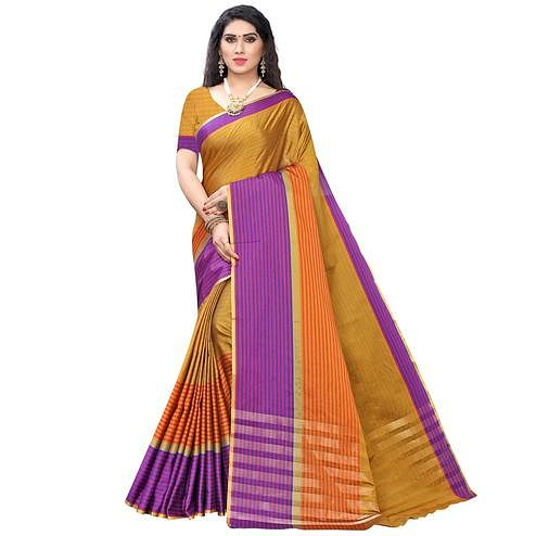 Innovative Mustard Yellow Colored Casual Wear Stripe Printed Cotton Silk Saree