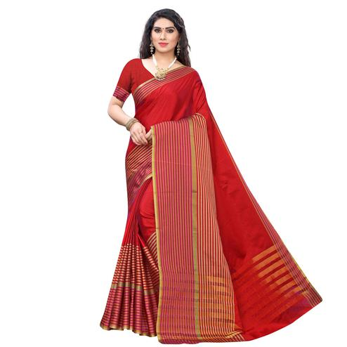 Eye-catching Red Colored Casual Wear Printed Cotton Silk Saree
