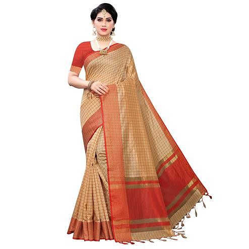 Pleasance Beige Colored Festive Wear Cotton Silk Saree With Tassels