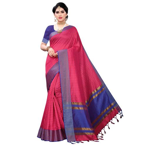 Breathtaking Pink Colored Festive Wear Cotton Silk Saree With Tassels