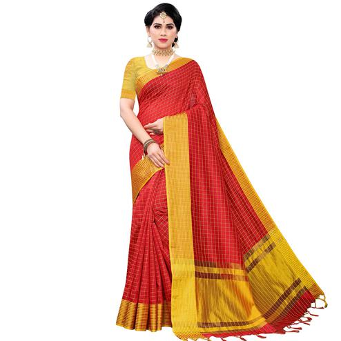 Ravishing Red Colored Festive Wear Cotton Silk Saree With Tassels