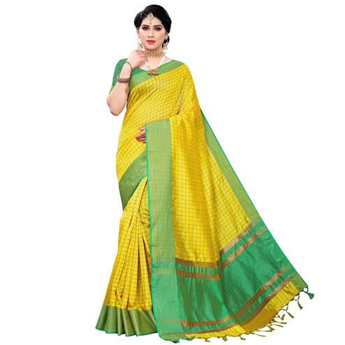 Staring Yellow Colored Festive Wear Cotton Silk Saree With Tassels