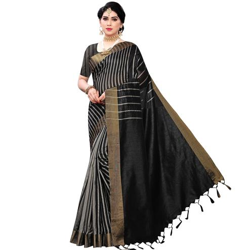 Dazzling Black Colored Festive Wear Cotton Silk Saree With Tassels