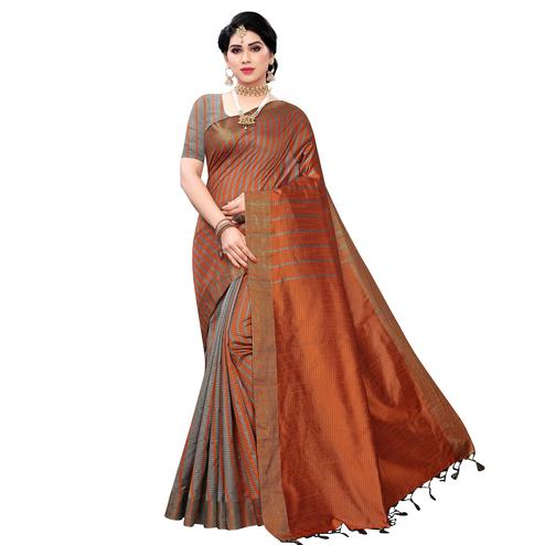 Surpassing Brown Colored Festive Wear Cotton Silk Saree With Tassels