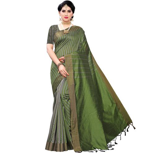 Radiant Green Colored Festive Wear Cotton Silk Saree With Tassels