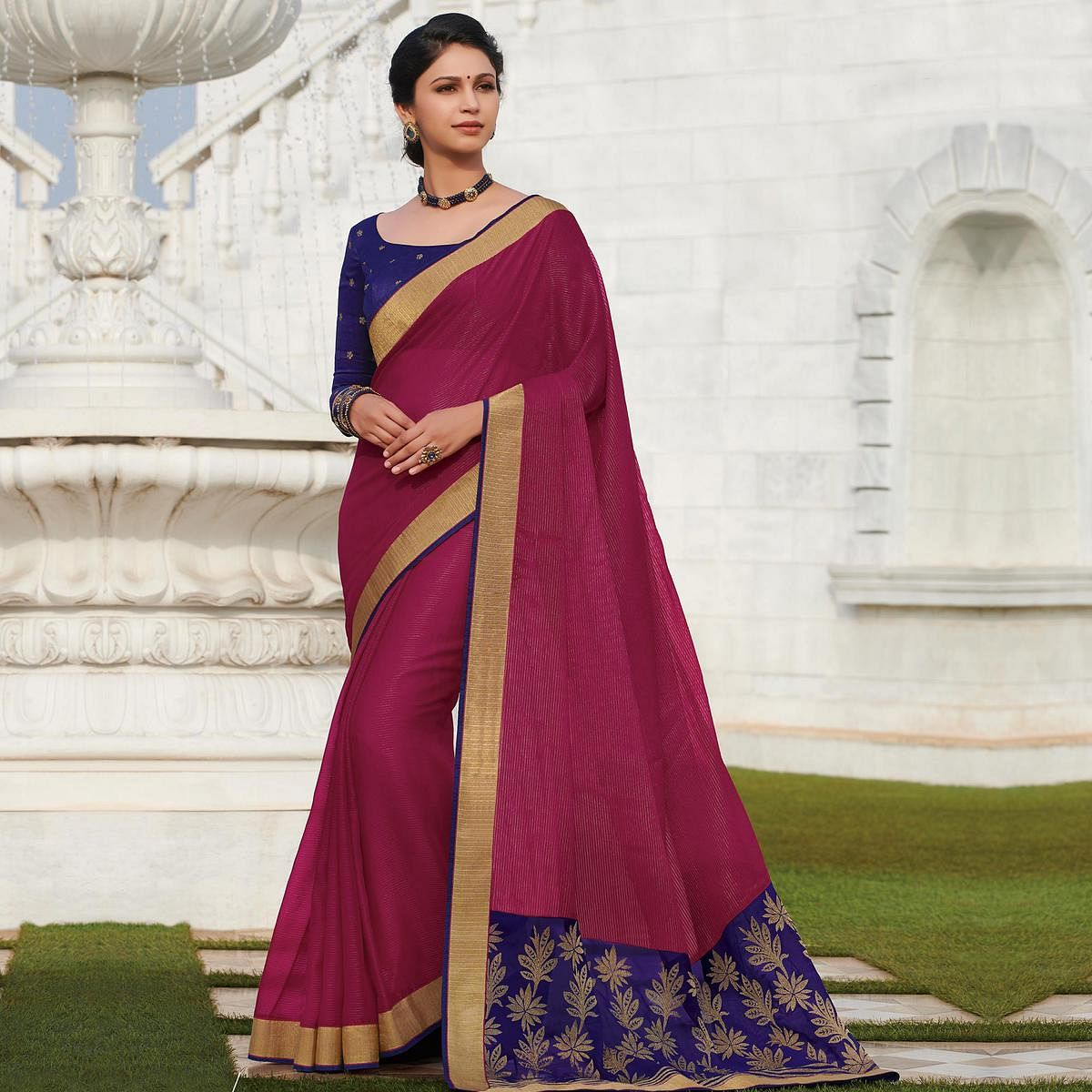 Desirable Dark Rani Pink Colored Party Wear Embroidered Viscose Saree