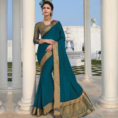 Pleasant Turquoise Blue Colored Party Wear Woven Work Chiffon Saree