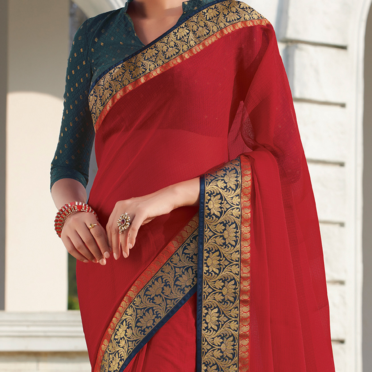 Glowing Red Colored Party Wear Embroidered Chiffon Saree