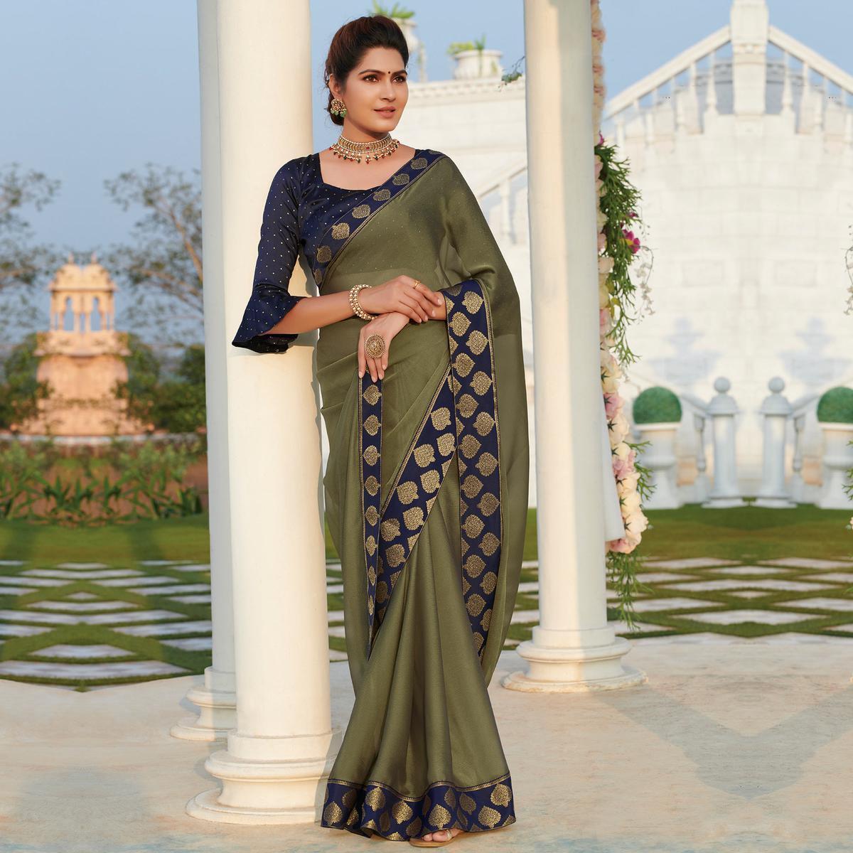 Exceptional Mehendi Green Colored Party Wear Embroidered Chiffon Saree