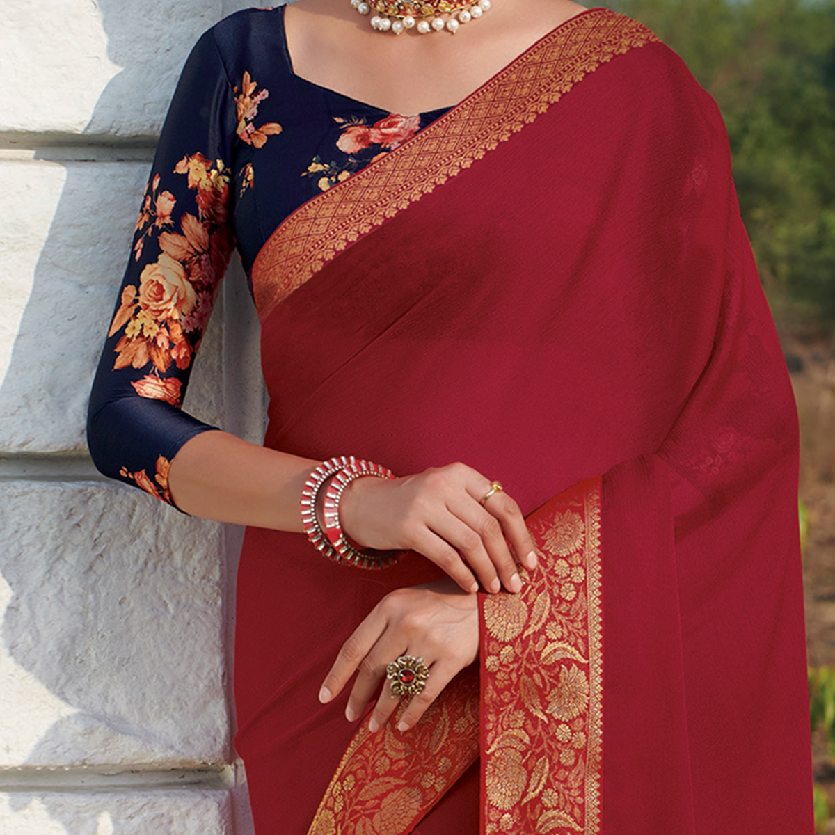Mesmeric Maroon Colored Party Wear Embroidered Chiffon Saree