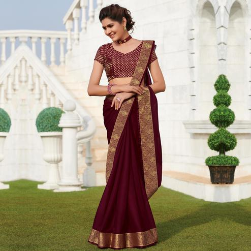 Unique Wine Colored Party Wear Embroidered Chiffon Saree