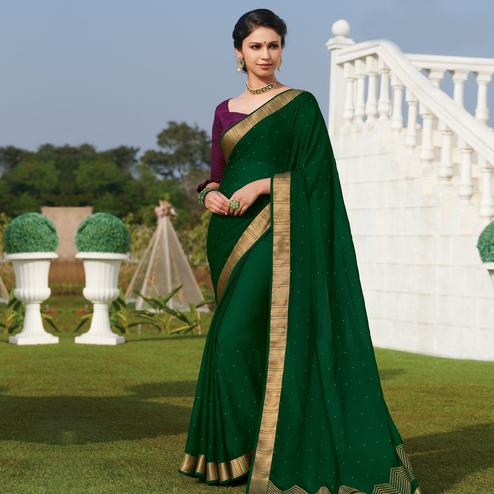 Demanding Green Colored Party Wear Embroidered Chiffon Saree