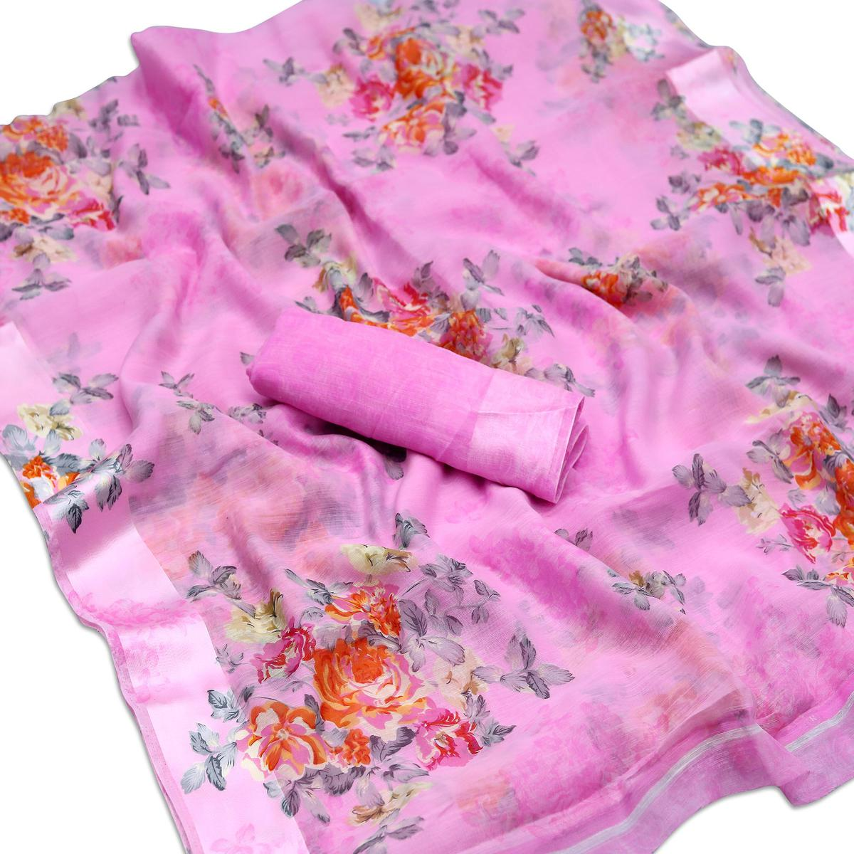 Attractive Pink Colored Casual Wear Floral Printed Cotton Blend Saree