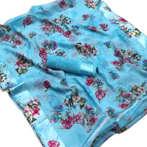 Charming Blue Colored Casual Wear Floral Printed Cotton Blend Saree