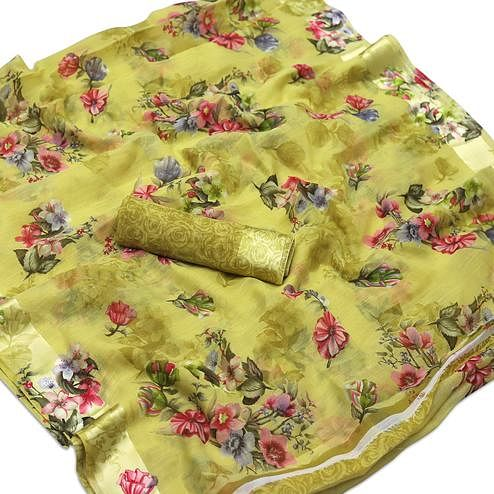 Jazzy Olive Green Colored Casual Wear Floral Printed Cotton Blend Saree