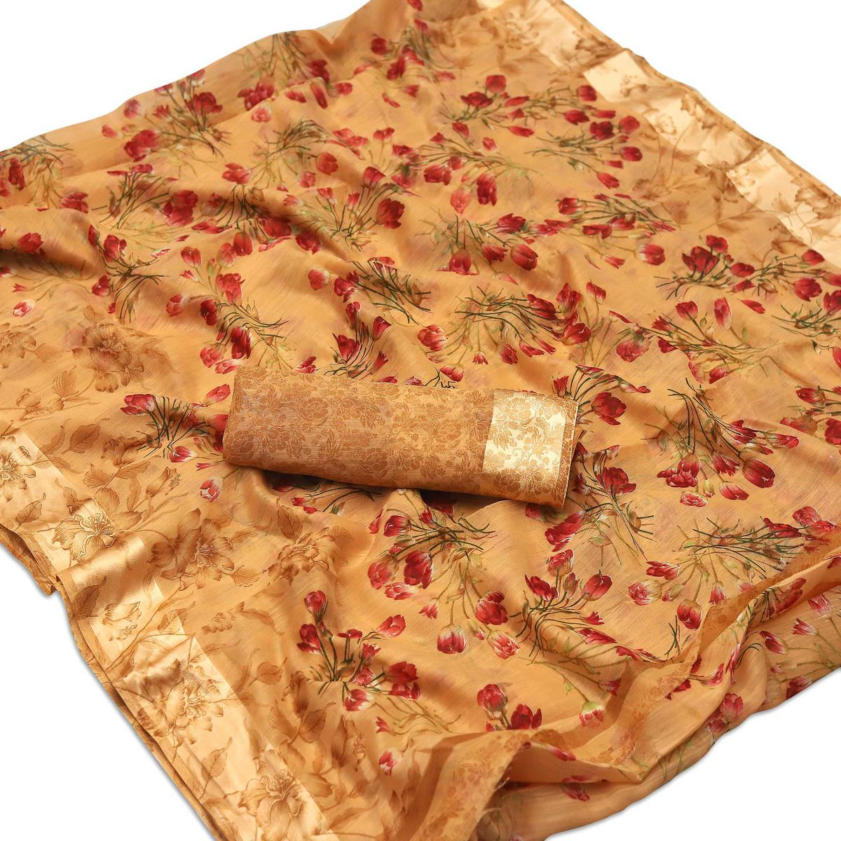 Delightful Orange Colored Casual Wear Floral Printed Cotton Blend Saree