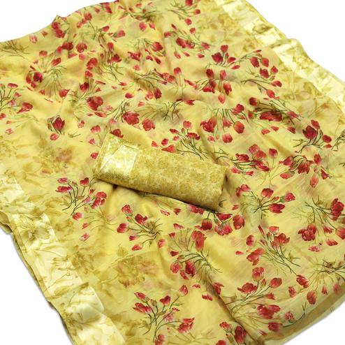 Engrossing Yellow Colored Casual Wear Floral Printed Cotton Blend Saree