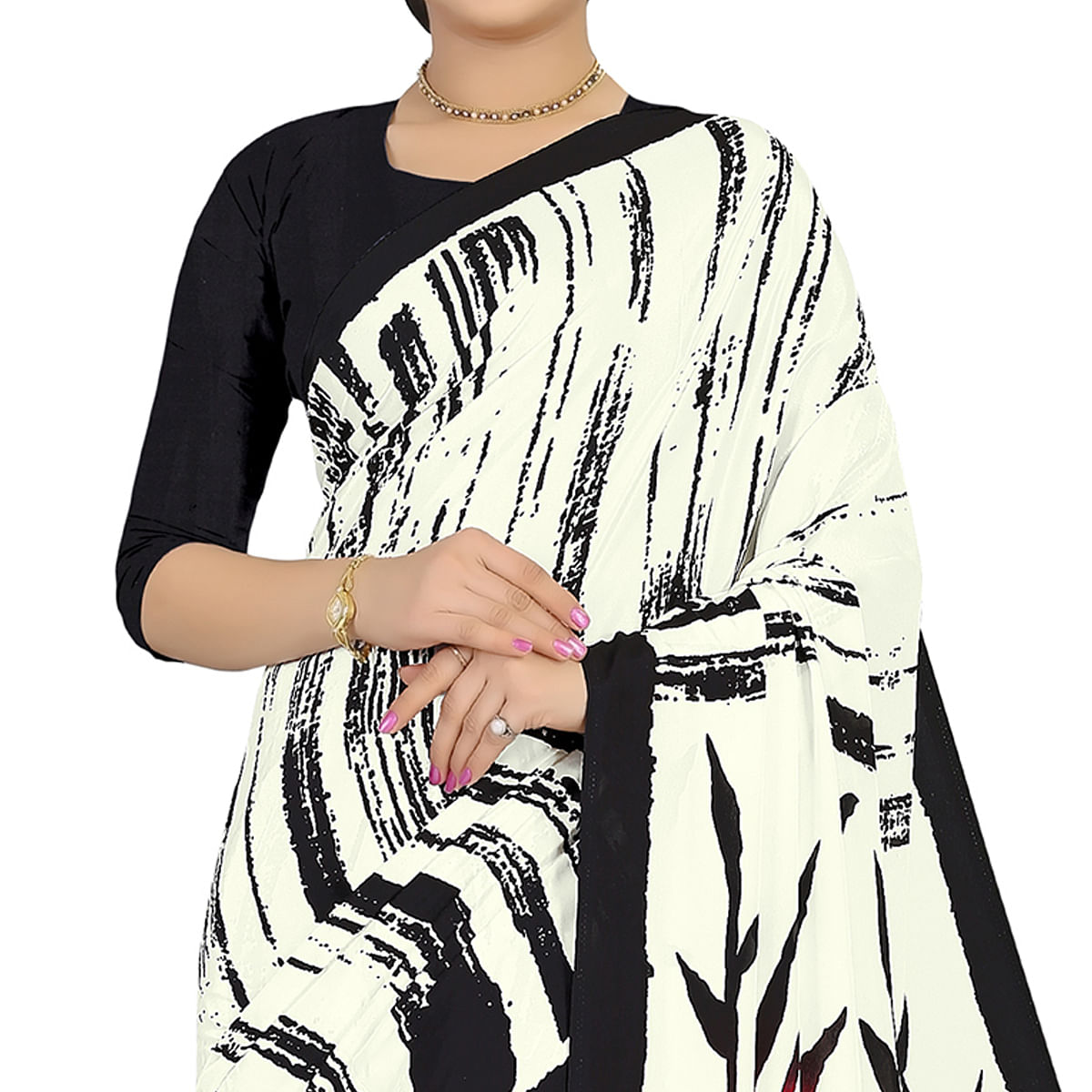 Glorious Offwhite Colored Casual Wear Printed Satin Saree