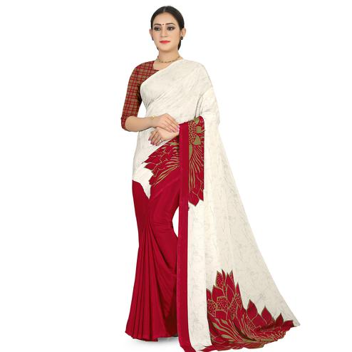 Attractive Offwhite - Red Colored Casual Wear Printed Satin Saree