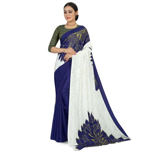 Beautiful Offwhite - Blue Colored Casual Wear Printed Satin Saree