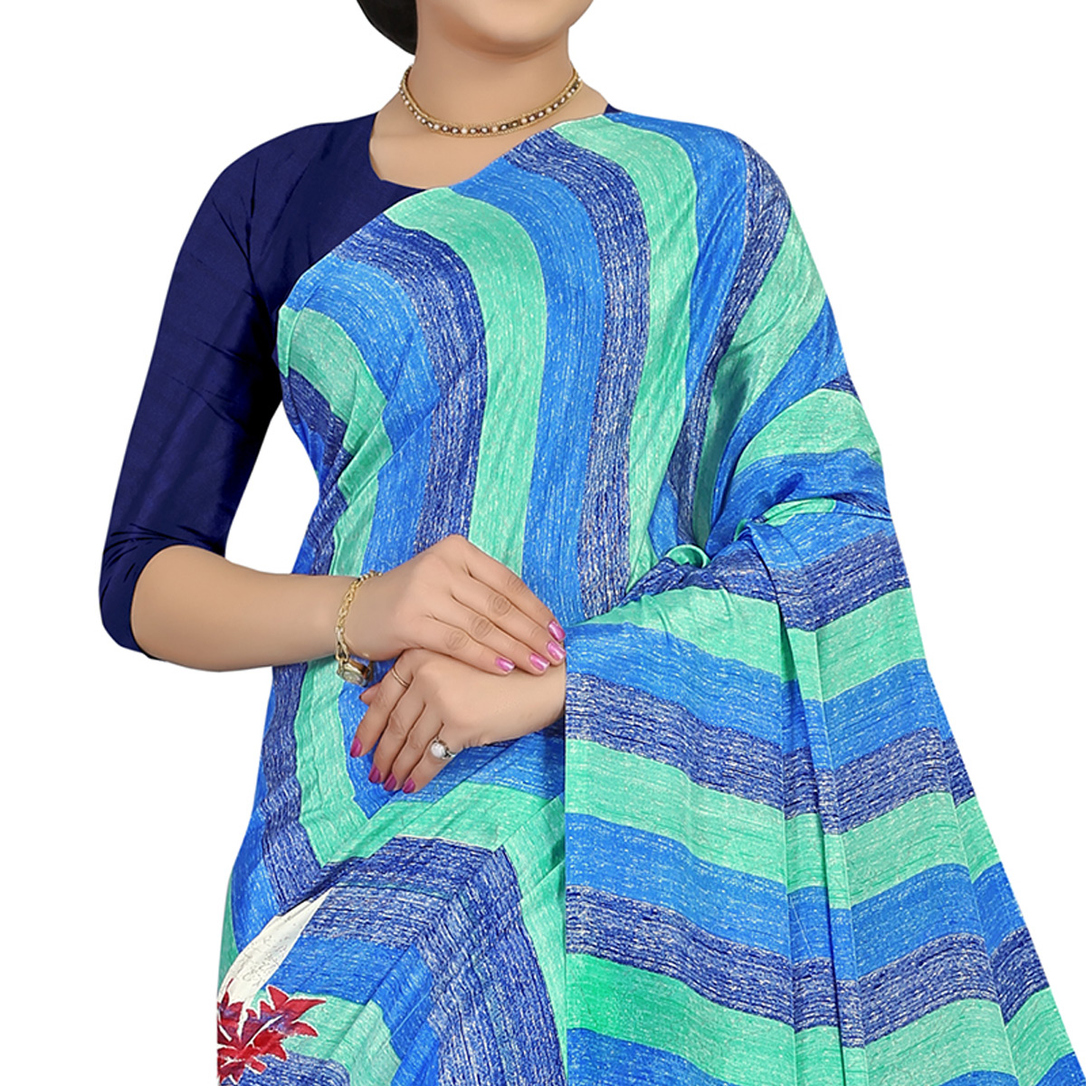Blooming Multicolored Colored Casual Wear Printed Satin Saree