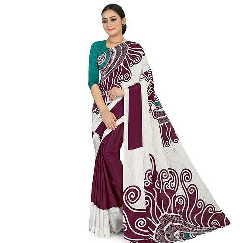 Charming Offwhite - Wine Colored Casual Wear Printed Satin Saree