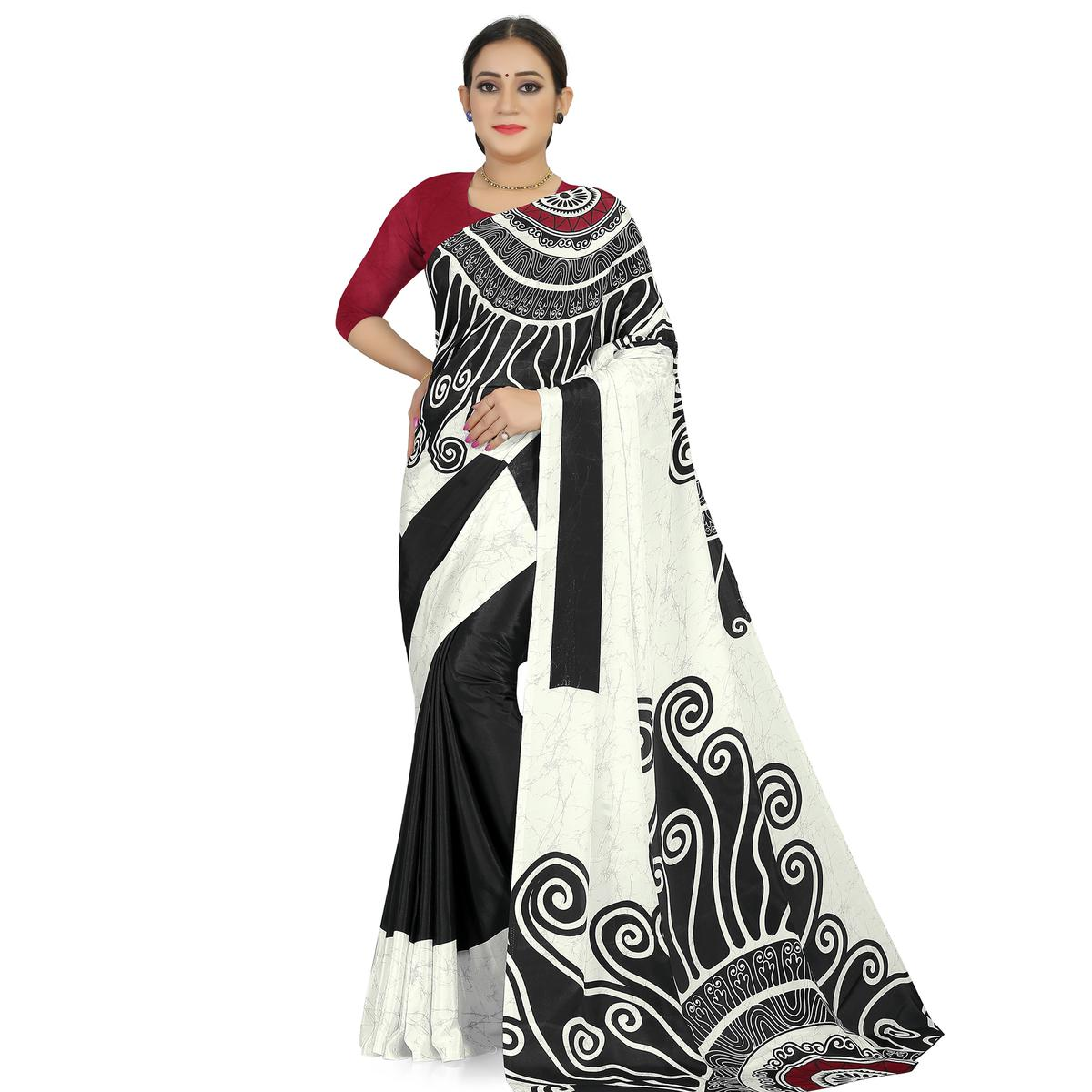 Jazzy Offwhite -Black Colored Casual Wear Printed Satin Saree