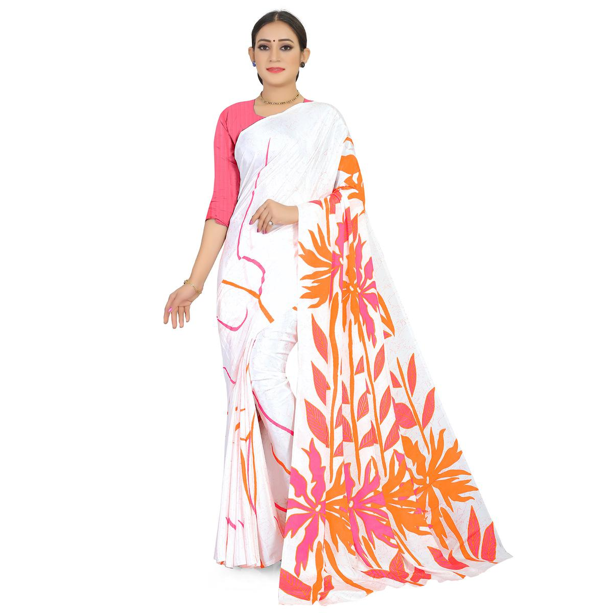 Delightful White Colored Casual Wear Printed Satin Saree