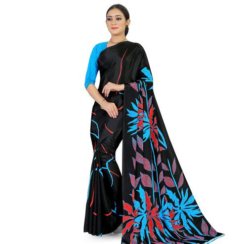 Engrossing Black Colored Casual Wear Printed Satin Saree