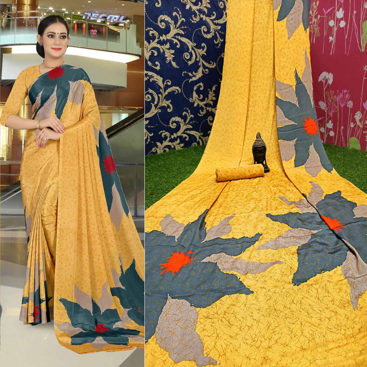 Innovative Mustard Yellow Colored Casual Wear Printed Satin Saree
