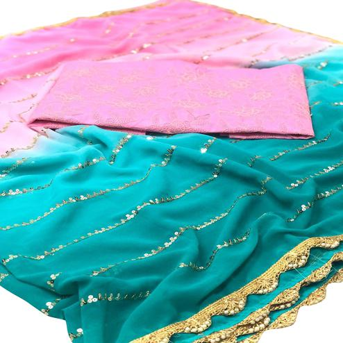 Classy Pink - Green Colored Partywear Embroidered Georgette Half - Half Saree