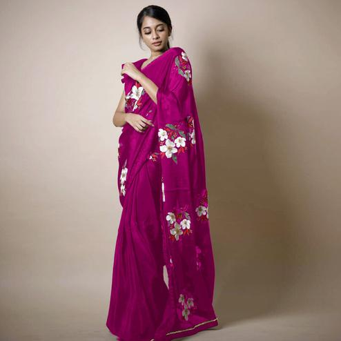 Prominent Wine Colored Partywear Printed Rangoli Silk Saree