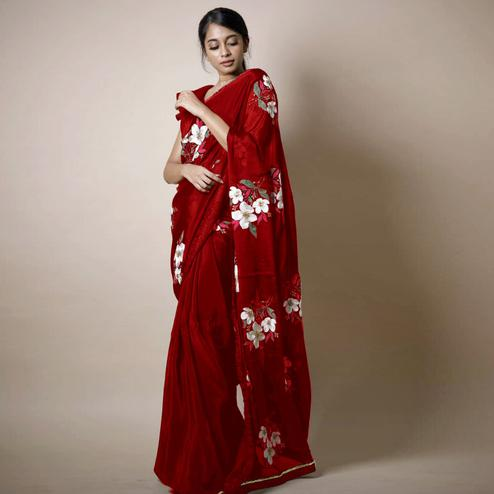 Appealing Bright Maroon Colored Partywear Printed Rangoli Silk Saree