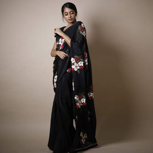 Capricious Black Colored Partywear Printed Rangoli Silk Saree