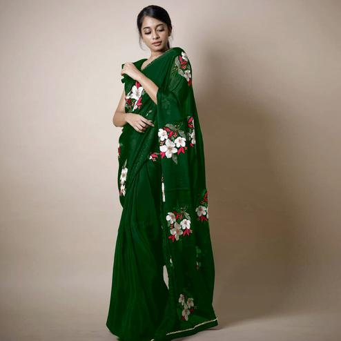 Entrancing Green Colored Partywear Printed Rangoli Silk Saree