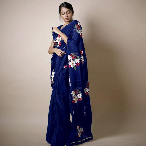 Groovy Blue Colored Partywear Printed Rangoli Silk Saree