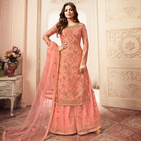 Pleasance Peach Colored designer Partywear Embroidered Dola Jacquard Palazzo Suit