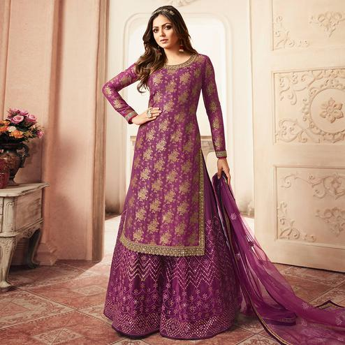 Breathtaking Purple Colored designer Partywear Embroidered Dola Jacquard Palazzo Suit