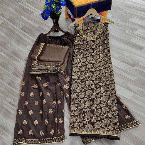 Staring Brown Colored designer Partywear Embroidered Dola Jacquard Palazzo Suit