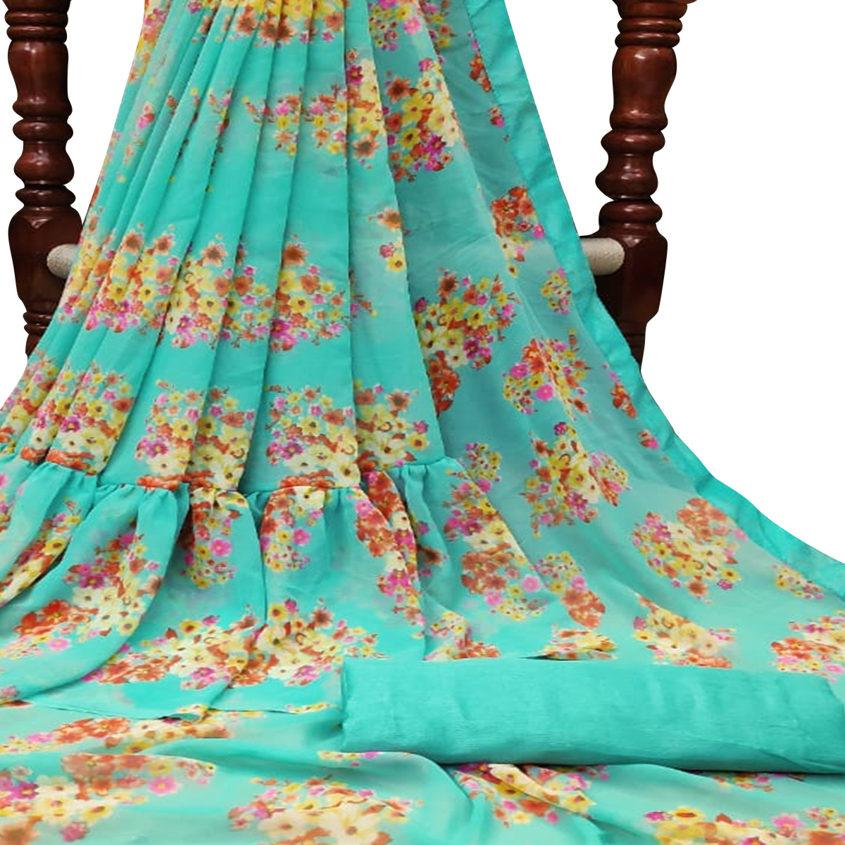 Lovely Turquoise Green Colored Partywear Printed Georgette Saree