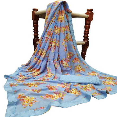 Majesty Blue Colored Partywear Printed Georgette Saree