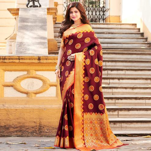Trendy Maroon Colored Festive Wear Woven Heavy Banarasi Silk Saree