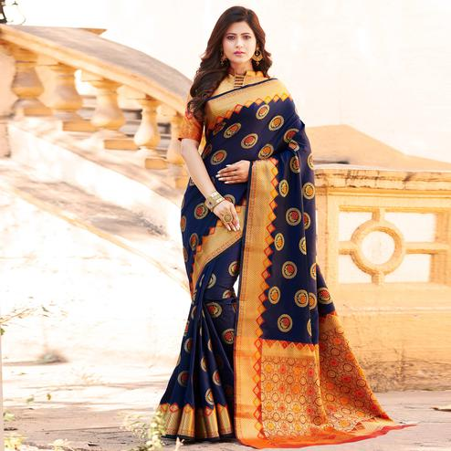 Radiant Navy Blue Colored Festive Wear Woven Heavy Banarasi Silk Saree
